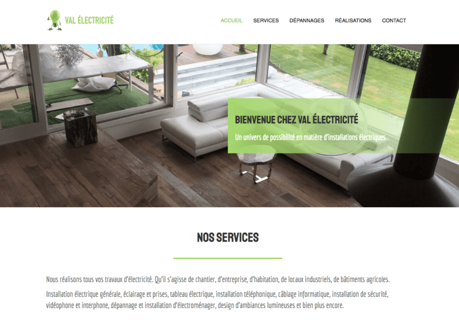 Val électricité website